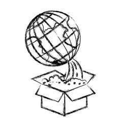 Monochrome blurred silhouette of earth globe vector