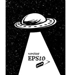 Monochrome UFO invasion vector image vector image