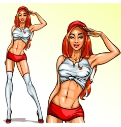 Sexy Red Hair Pin Up Girl vector image