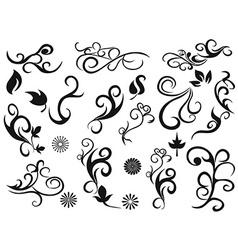 swirling decorative floral design elements vector image vector image