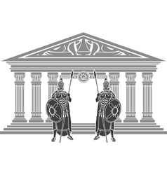 two titans and temple of atlantis vector image vector image