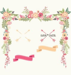 Wedding Floral Elements Save the Date Invitation vector image vector image