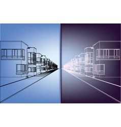 wireframe building over blueprint vector image vector image