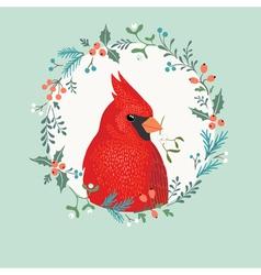Christmas Cardinal bird vector image vector image