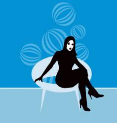 lady on retro chair vector image vector image