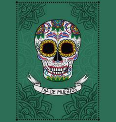 mexican sugar skull with floral pattern dia de vector image vector image
