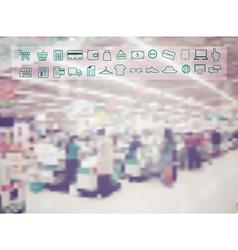 Supermarket store blur background vector image vector image
