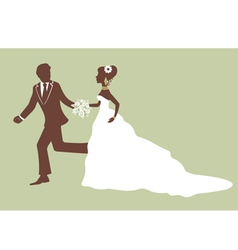 Beautiful bride and groom running vector image