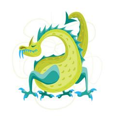 cartoon green fantasy animal dragon vector image