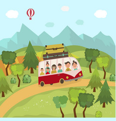 Family travelling by bus in countryside fields vector