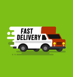 fast shipping delivery truck in flat style vector image