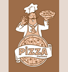 Funny italian chef with pizza emblem design vector