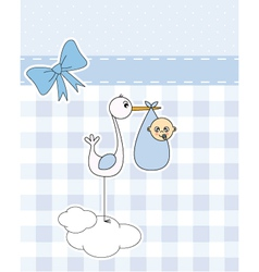 stork with newborn baby vector image