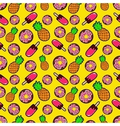 Sweets Food Seamless Pattern with Donuts vector image vector image