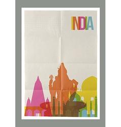 Travel India landmarks skyline vintage poster vector image vector image