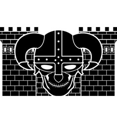 two tower and skull of fantasy warrior vector image vector image