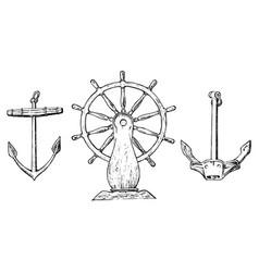 boat s wheel and sea anchor marine sketch vector image vector image