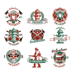 Colorful fire protection labels set vector