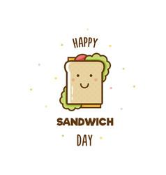 happy sandwich day vector image vector image