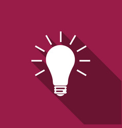 light bulb flat icon with long shadow vector image vector image