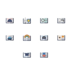 Reading books flat color icons vector image vector image