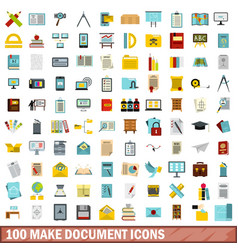 100 make document icons set flat style vector