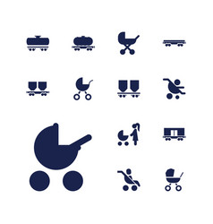 13 carriage icons vector