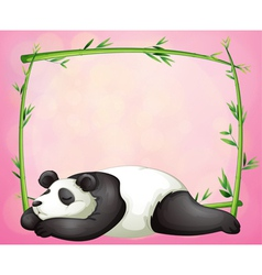 A green frame with a panda sleeping vector image