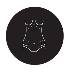 Abdominoplasty black concept icon vector