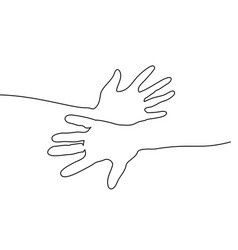 abstract hands togehter continuous one line draw vector image