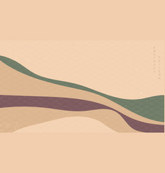 abstract landscape background with japanese wave vector image