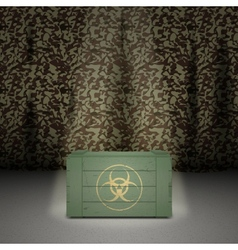 Army background with wooden box vector image vector image