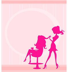 beautiful woman in hairdressing salon vector image vector image