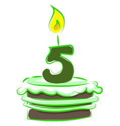 birthday cake with number five on white vector image
