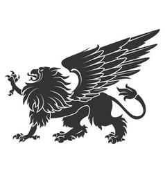 Black Heraldic Griffin01 vector