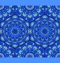 Blue tile hex pattern flower mandala vector