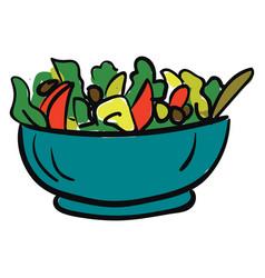 bowl of vegan salad with fresh vegetables color vector image