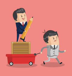 businessman pulling cart with boss vector image