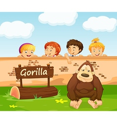 Children looking at gorilla in the zoo vector