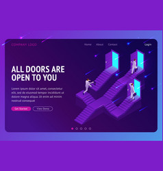 Choice career ladder isometric landing page vector