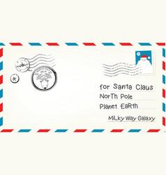 christmas letter envelope vector image