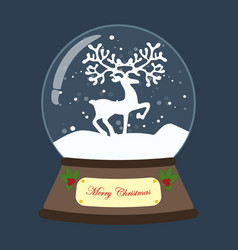 christmas snow globe with deer vector image