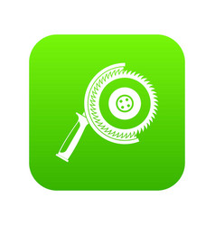 circle saw icon digital green vector image