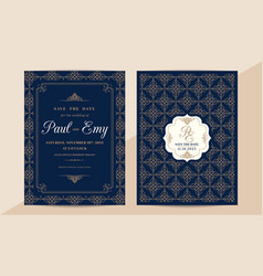 classic vintage wedding invitation card with vector image