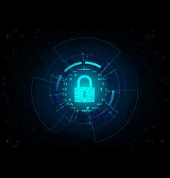closed padlock on futuristic background vector image