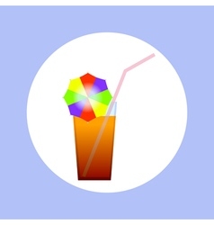 cocktail in circle vector image