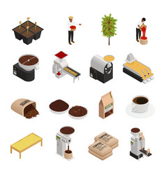 Coffee isometric icons collection vector