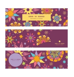 colorful stars horizontal banners set pattern vector image