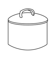 Cooking pot with metal lid utensil vector