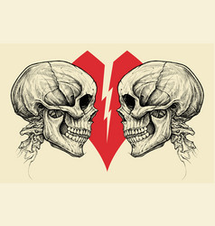 Couple skulls and broken heart symbol vector